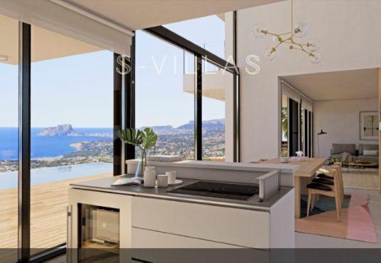 Residencial Plus Jazmines Benitachell keuken met zeezicht